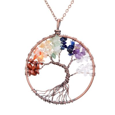 Meditation Tree Crystal Reiki Stone Pendant with Chain