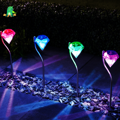 Diamond-Shaped Garden RGB LED Lamps, 4pcs