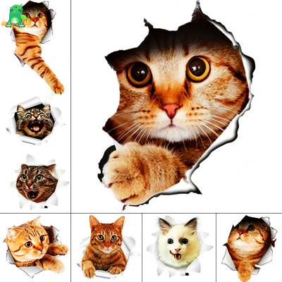 3D Waterproof Vinyl Decal Cat Stickers, 1 Sticker