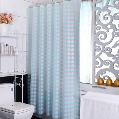 Mold and Mildew Resistant Chlorine Free PEVA Shower Curtain, Retro Style with 12 Hook Rings