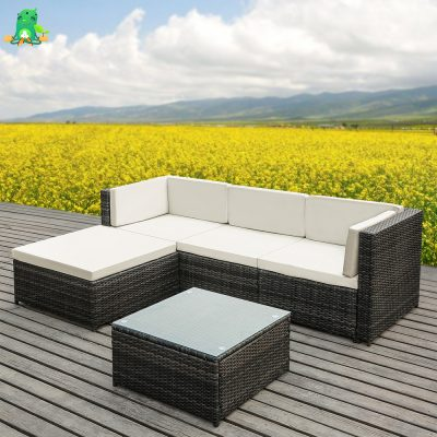 Outdoor Rattan Wicker Patio Furniture Set with Cushions and Sectional, 5 pieces