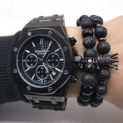 Lava Stone Bracelet with Crown or Helmet Charm, Men and Women