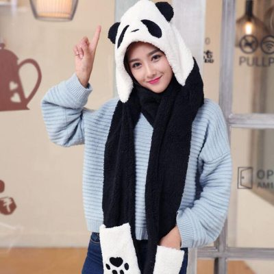 Plush Panda Hoodie Scarf and Mittens
