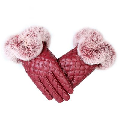 Womens Leather Winter Gloves with Faux Fur