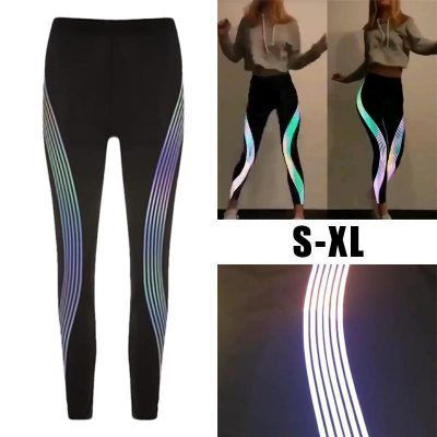 Reflective Neon Rainbow Leggings