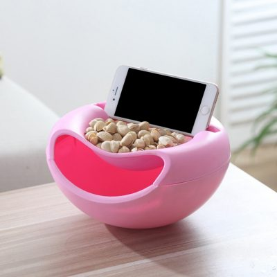 Double Layer Snack Bowl with Phone Stand