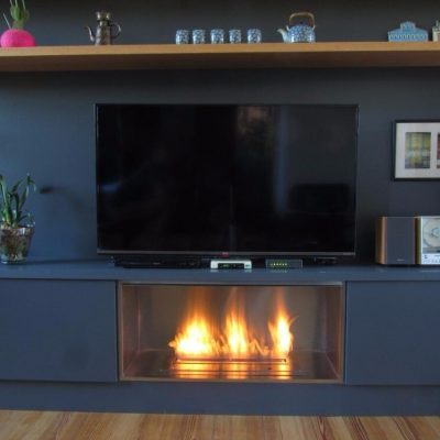 Electric Fireplace with Remote and Auto Igniter, 18 Inches